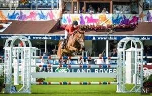 Jessica Springsteen rode Tiger Lily to a second place finish in the Anglesea Stakes at the 2016 Dublin Horse Show.