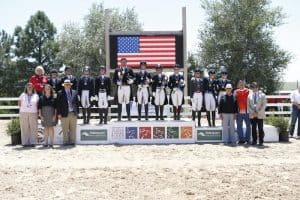 The 2016 NAJYRC Dressage Young Rider Team medalists. (SusanJStickle.com)