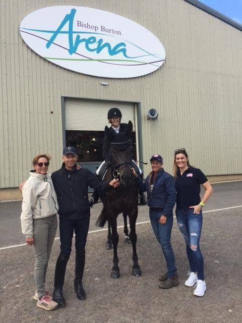 Margaret McIntosh at the Bishop Burton Arena with her groom Ellen Beardsley, Michel Assouline, Missy Ransehousen and her daughter, Charlotte McIntosh Tarr.