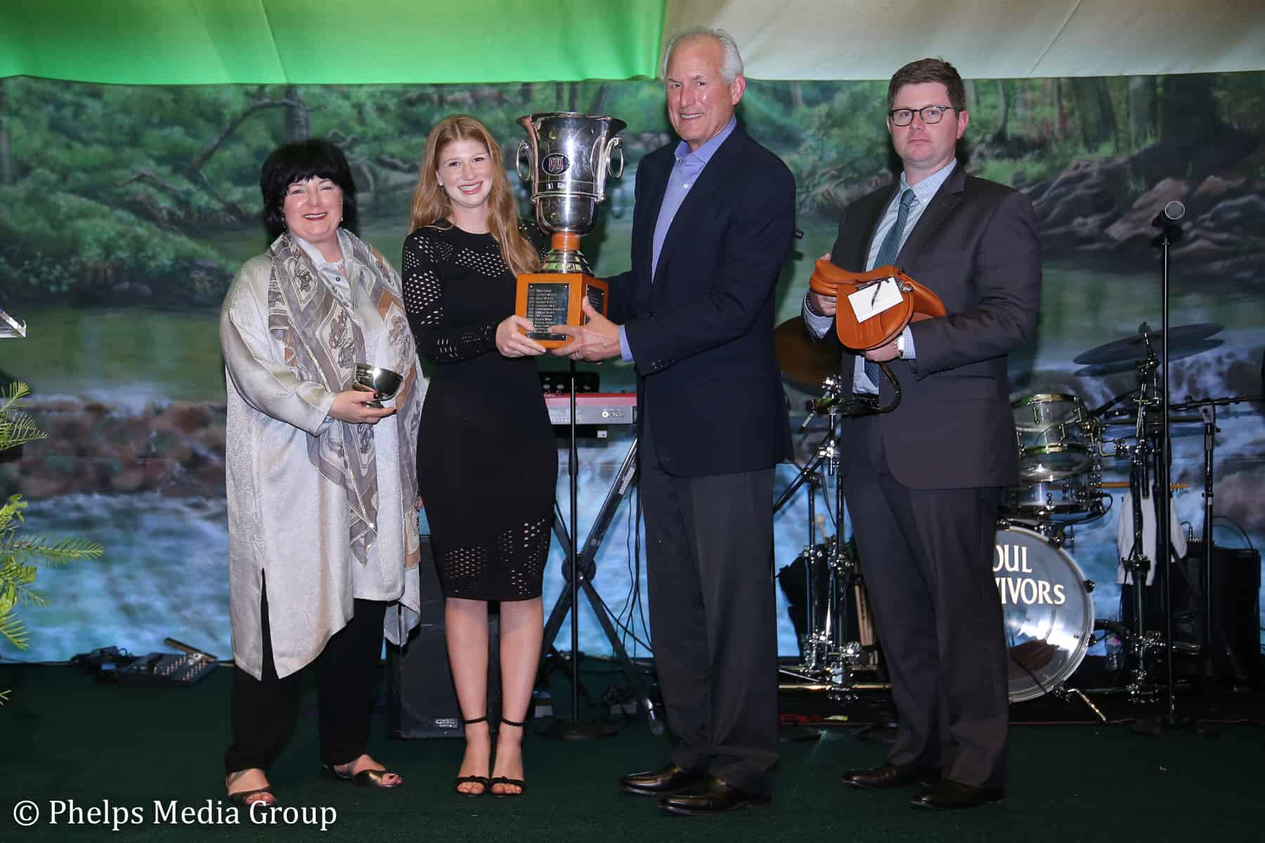 "Jennifer Gates accepted the Lionel Guerrand-Hermès Trophy at the ""Triumph in Tryon"" gala on Jan. 19."