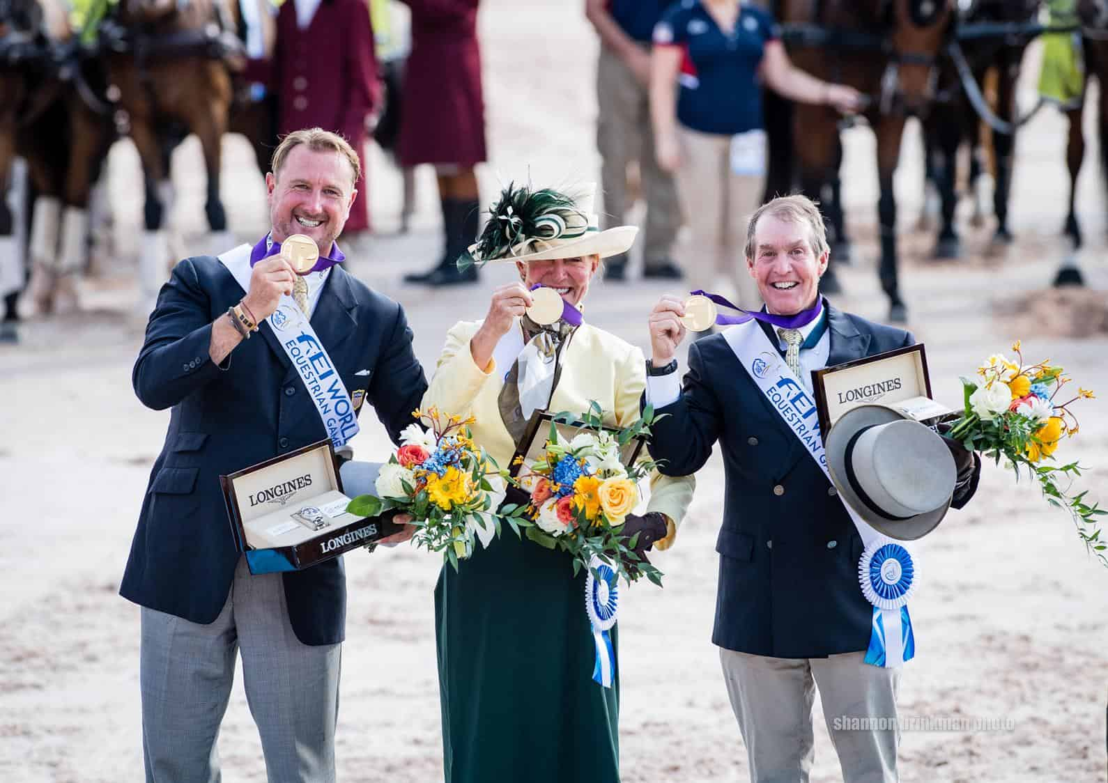 Chester Weber, Misdee Wrigley-Miller and Jimmy Fairclough celebrate their gold medal win (Shannon Brinkman Photo)