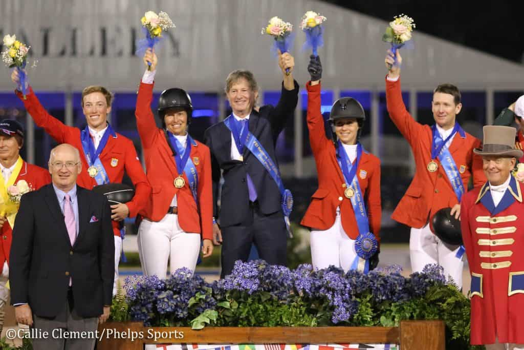 Left to right on the podium: Wilton Porter, Beezie Madden, Chef d'Équipe Robert Ridland, Adrienne Sternlicht and McLain Ward of the United States won the $150,000 FEI Nations Cup CSIO4* at the 2019 Winter Equestrian Festival in Wellington, Florida.